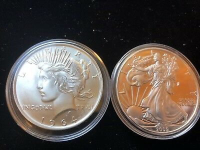 Daniel Carr 1964-D Peace Dollar and 2009 Proof silver Eagle