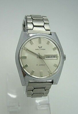 Vintage Waltham Mens 17 Jewel Wind Silver Dial Day Date Stretch Band Watch
