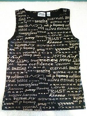 Chicos Design Word Top Black Gold Hard To Find Unique Size 0