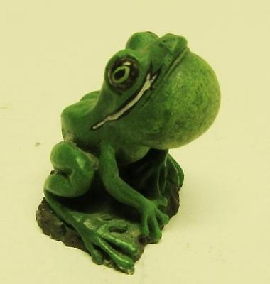 Mini GREEN METAL FROG Hand Painted / Vocal Sac / SIGNED Mini Dollhouse TOAD