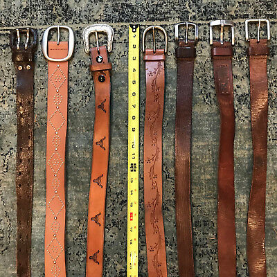 Lot of 7 BELTS MIXED VINTAGE & MODERN MIXED STYLE PLAIN TOOLED EMBOSSED SZ 28-42