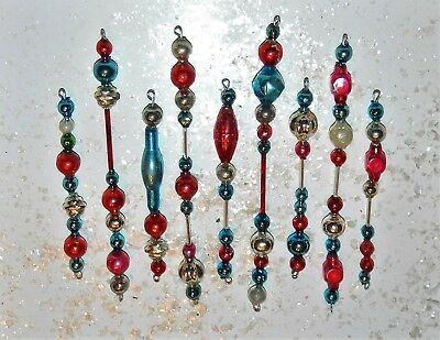 Vintage PATRIOTIC Mercury Glass Bead Icicle Ornaments Christmas Garland Feather