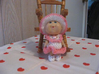 """Pink Heart Dress Set For Mini Cabbage Patch Doll Or Similar Sized 3"""" Doll"""