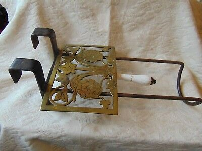 Antique Brass Wrought Iron Sliding Kettle Pot Stand Cooking Fire Pan Warmer Hob