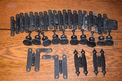 20 Black Vintage Hammered Wrought Iron Style Cabinet Hinges  10 Drawer Pulls