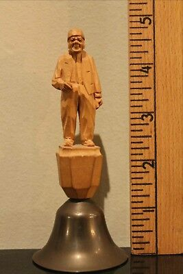 Antique GERMAN WOOD CARVING of An Old Man on Top of A BRASS BELL