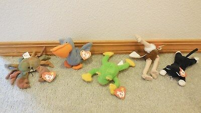 Ty Teenie Beanie Babies Lot of 5~ 2- Ostrich, Zip, Smoochy, Scoop & Claude Crab