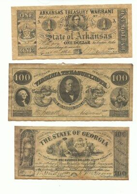 6 pcs confederate currency money -All marked COPY