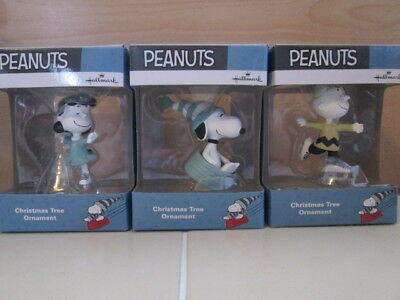 3 PEANUTS Winter Hallmark Snoopy Charlie Brown New in Box Christmas Ornament Lot