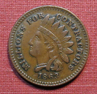 1863 PATRIOTIC CIVIL WAR TOKEN - ...NOT ONE CENT FOR THE WIDOWS, 97/389a, R2!