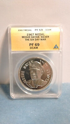 1967 SIX DAY WAR VICTORY Moshe DAYAN MEDALS Coin Proof PF 69 STERLING SILVER NR