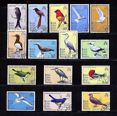 British Indian Ocean #63-77 (BR422) Complete 1975 Birds, Used, FVF, CV$79.75