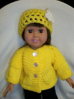 """American Girl Doll Clothes Bright Yellow Sweater & Hat 18"""" doll Handmade - NEW"""