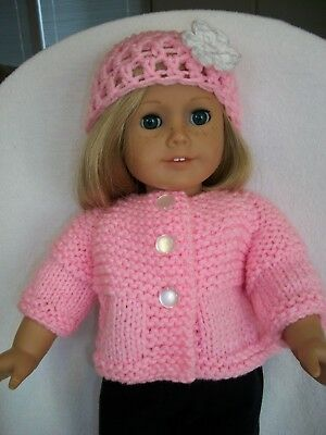 """American Girl Doll Clothes Petal Pink Sweater & Hat 18"""" doll Handmade - NEW"""