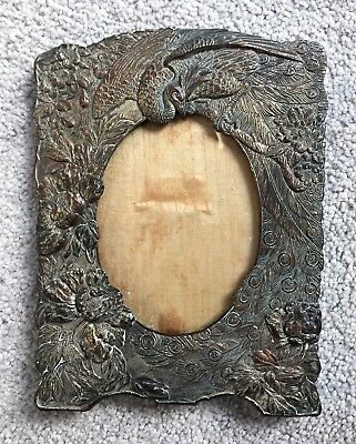 Antique Art Noveau Peacock Motif Metal Picture Frame From 1916
