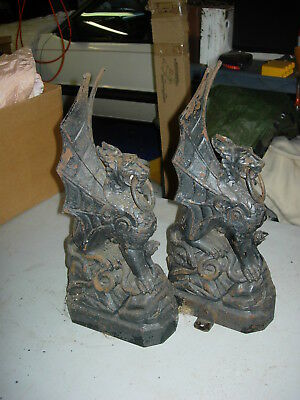 Pair Vintage Antique Cast Iron Gargoyle Dragon Hitching post Fence element Fine