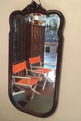 Lovely Victorian Antique Beveled Glass Wall Mirror Tiger Oak Wood Frame