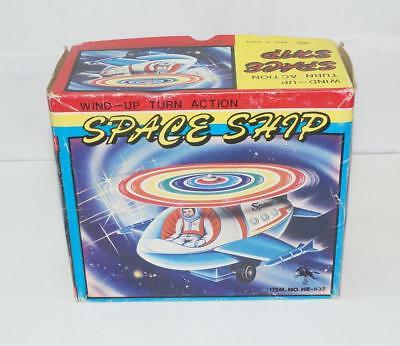 Space Ship Wind Uo Turn Action Tin Toy Modern With Box