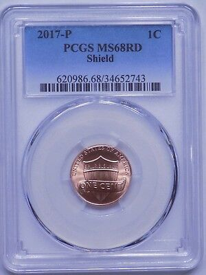 2017-P Lincoln Shield Cent, PCGS MS68 RED, REGISTRY, TOP POP 26/0, VERY NICE!!