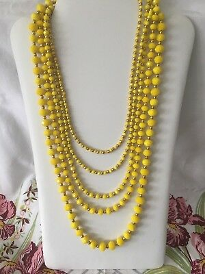 Vintage Necklace Art Deco Multi Strand Yellow Faceted Glass Beaded Necklace