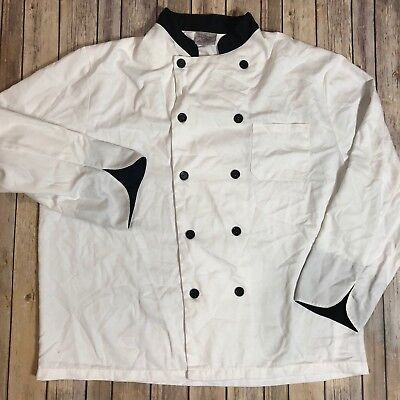 Chef Coat Double Breasted White Work Uniform By King Menus Apparel XL #88