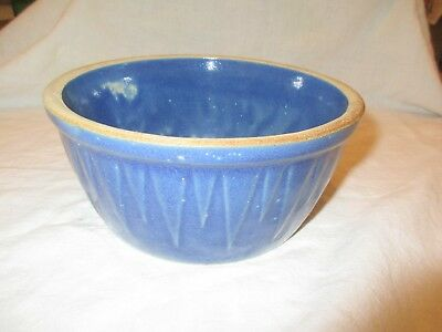 """Ruckels Pottery 1870 SAWTOOTH Stoneware 7.5"""" BLUE BOWL, White Hall, IL"""