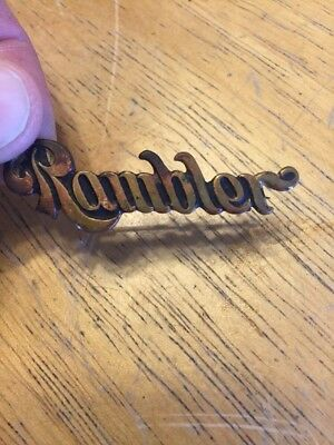 """Vintage Rambler Brass Pin Back Automobile Advertising Schwaab S&S Co. 2"""" Long"""