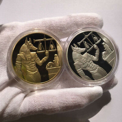 2x God of Death Egyptian Mummification Anubis Coin Badge Collectible Gold/Silver