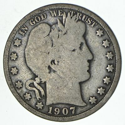 50c United States Coin - 1907 Liberty Barber 90% Silver US Half Dollar *479