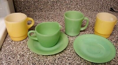 Vintage Fire King Glass Jadeite and Yellow Mugs Creamer and Saucers Lot of 6