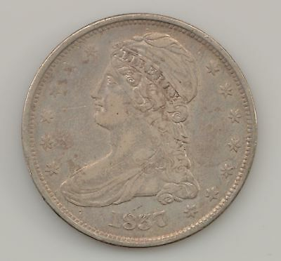 1837 Capped Bust, Reeded Edge Silver Half Dollar *Q50