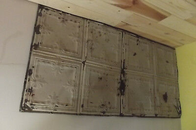 Antique Vintage Tin Ceiling Salvage Art Reclaimed Art Deco Tiles 2' x 4'