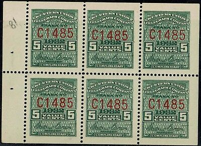 #16T81 1932 5c WESTERN UNION TELEGRAPH CO. BOOKLET PANE MINT-OG/NH--VF/XF