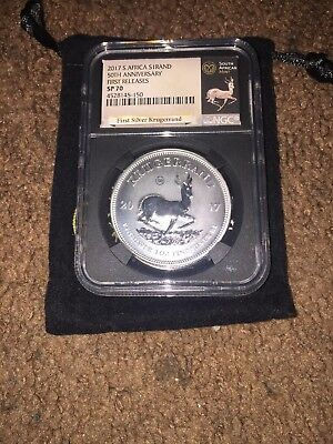 2017 PROOF KRUGERRAND FIRST RELEASES SILVER NGC PF70 50th Anniversary black core