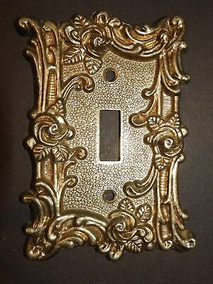 Ornate Victorian Style Rose Brass Tone Switch Plate Cover Amer Tack & Howe 1967