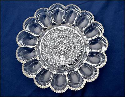 Indiana Clear Glass Hobnail Round Deviled Egg Tray Plate Beaded Rim