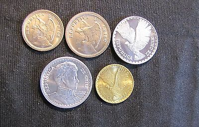 Lot of 5 High Grade Chile Coins - 1940 10 Centavos, 1940 20 Centavos, 1957 Peso