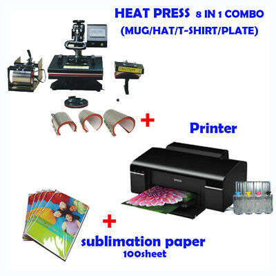8 in 1 HEAT PRESS MACHINE + Printer (with ink) + Sublimation ink paper