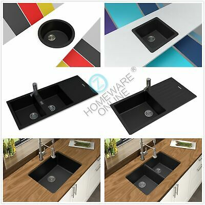 Black Granite Stone Kitchen Sink Under/Top Mount Single Double Bowl Food Safe