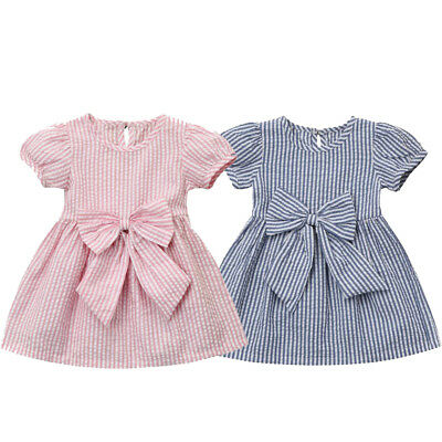 Toddler Kids Baby Girls Infant Clothes Stripe Bow Princess Outfits Dress Clothes