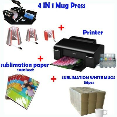 4in1 Mug Heat Press Machine + Printer(with Sublimation ink, Paper) + White Mug