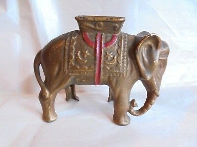 Antique Cast Iron Large Size Elephant with Howdah Bank with Nice Original Paint