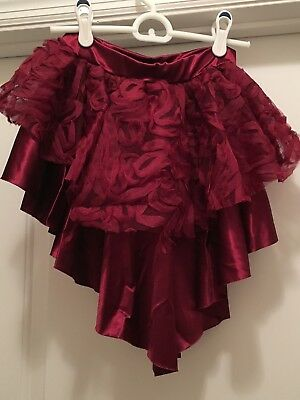 Balera bustle dance skirt with attached shorts, Adult Small, Burgundy