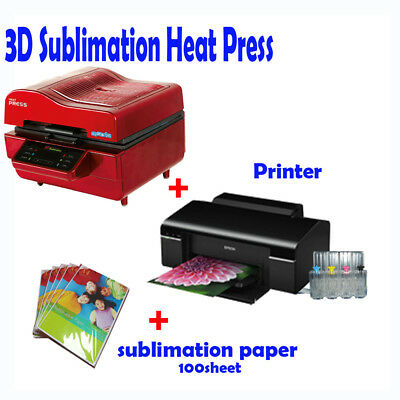 3D VACUUM DYE SUBLIMATION ink HEAT PRESS + Printer (with ink) + Paper
