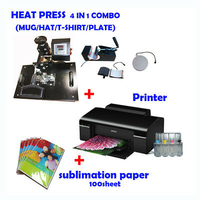 4 in 1 HEAT PRESS MACHINE + Printer (with ink) + Sublimation ink paper