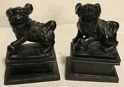 Pair of Vintage Chinese Foo Dogs Lions on Stands - Hand Carved Black Stone