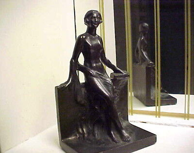 Rare Art Deco 1930 Modernistic Nude Lady Metal Bookend or Statue - Frankart Era