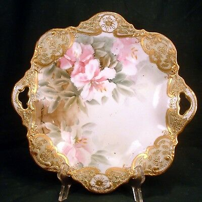 Antique 1890's Nippon Hand Painted, Gold Encrusted, Enameled Open Handled Plate