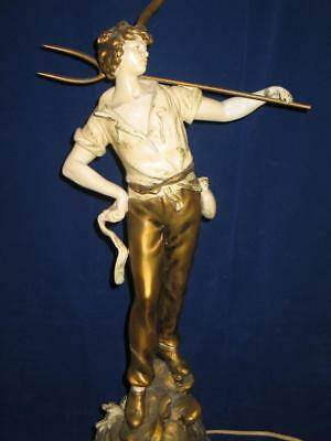 Antique Art Nouveau L&F Moreau Metal Figural French Countryside Boy w/ Pitchfork