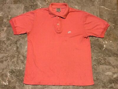 83d9cfcf0 Vintage 80s 90s Nike Salmon Pink Distressed Polo Shirt Adult Size Small Rare !